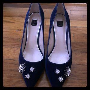 WHBM Olivia Blue Velvet Shoes